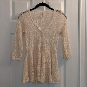 Free People XS Lace Peplum top off-white